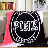 "Victoria Secret VS ""Pink"" Print Popular Family Comfortable Soft Fleece Warm Travel Blanket Sofa Cover Nap Blanket Pink I"
