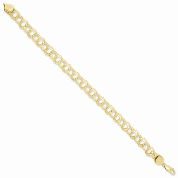 14k Yellow Gold Triple Link Charm Bracelet