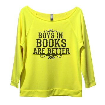 Boys In Books Are Better Womens 3/4 Long Sleeve Vintage Raw Edge Shirt