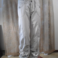 Size 9 Womens Vintage 90's White Khaki Adjustable Length Pants Drawstring Waist Hippie pants Boho Pants Southwest Pants 90's Cargo Pants