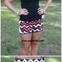 YEAR END SALE Ready For Anything Athletic Shorts in Red, Black and White Chevron