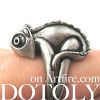 3D Realistic Iguana Chameleon Animal Ring in Silver - Size 5 to 10