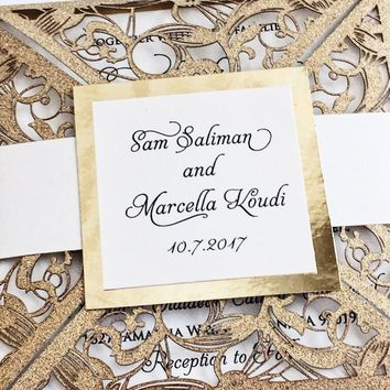 Glitter Laser Cut Wedding Invites - Glitter Laser Cut Quinceanera Invites - MARCELLA VERSION