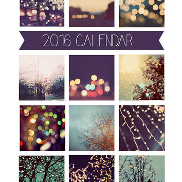 2016 Calendar, Photography Calendar, Desk Calendar, Photo Calendar, 5x7, Modern, Loose Pages, Fine Art Prints, City Lights, Abstract,