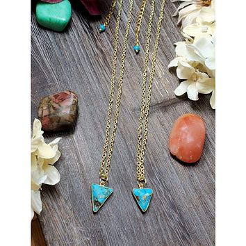 Copper Turquoise Triangle Necklace