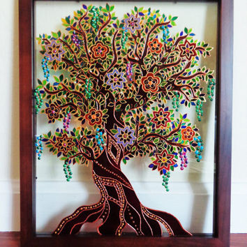 "Tree of life art 15""x12"" Glass painting Original painting Bohemian decor"
