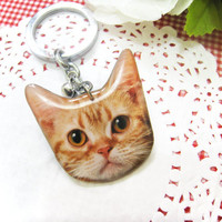 Orange Cat head keychain - A0015-K C7