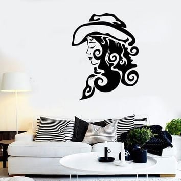 Wall Stickers Vinyl Decal Texas Cowgirl Wild West For Living Room  (z1732)