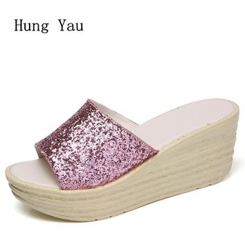 Summer Style Women Sandals Flip Flops 2018 Sexy Open Toe Slides Female Fashion Glitter Sandals Platform Comfortable