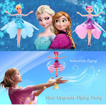 Upgrade Induction Flying Elsa Fairy Toys Remote Control RC Flying Princess Helicopter toys for girls