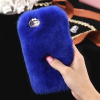 *Soft & Fuzzy Faux Fur iPhone 6 Plus Case- Blue