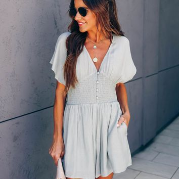 Paramour Smocked Button Down Pocketed Romper -  Sage
