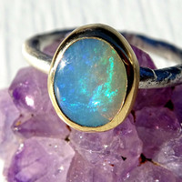 gold opal engagement ring silver, molten opal ring gold silver, branch opal ring, twig opal ring October birthstone opal anniversary gift