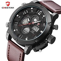 New Top Luxury Men Sports Watches Men's Quartz Dual Display Analog Led Clock Man Leather Army Military Wrist Watch