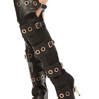 Black Faux Leather Ring Detailed Pointed Toe Thigh High Boots