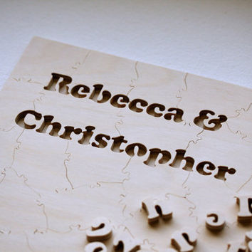 WOOD Puzzle Wedding Guest Book A guest book by BellaPuzzlesToo