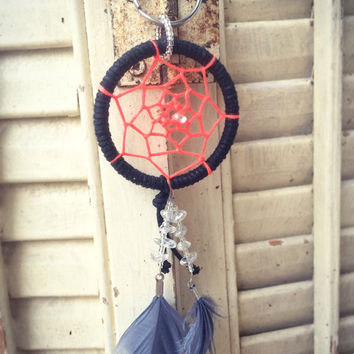Dreamcatcher Beaded Keychain with a Neon Coral Center, Accented with Aura Quartz chunks, and Real Feathers