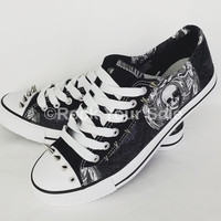 Gothic skulls and spikes pumps, alternative lace up trainers made to order