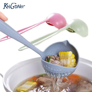 KHGDNOR 2-in-1 Filter Soup Spoon Long Handle Porridge Spoons With Filter Wheat Plastic Soup Spoon Cooking Utensil