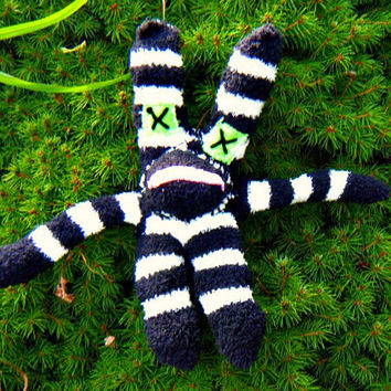 New Handmade Evil Ugly Sock Critter Fuzzy Striped EasterRabbit. Not your average sock monkey. ON SALE WAS 25.00