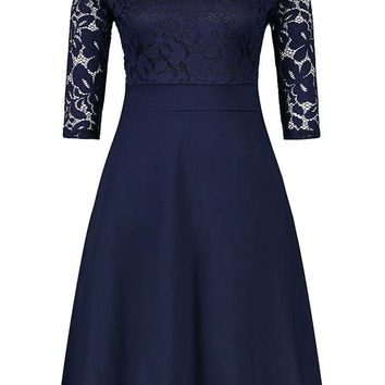 A| Chicloth Women's Vintage Floral Lace Boat Neck Cocktail Formal Swing Dress