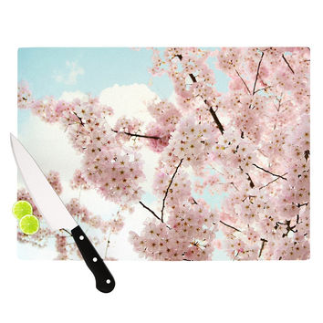 "Sylvia Cook ""Spring Beauty"" Pink Blue Cutting Board"