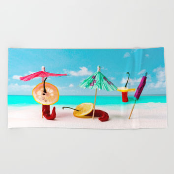 The Red, the Hot, the Chili on the beach Beach Towel by Digital2real
