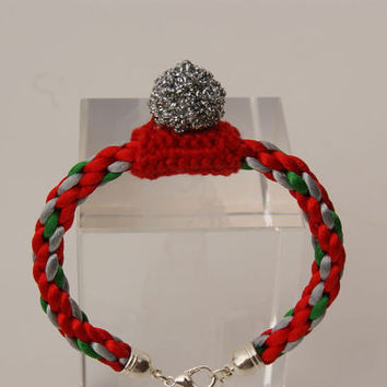 Christmas Bracelet. Red,Light Grey and Green Kumihimo Bracelet.Bangle with Little Christmas Decoration as a Central Motif