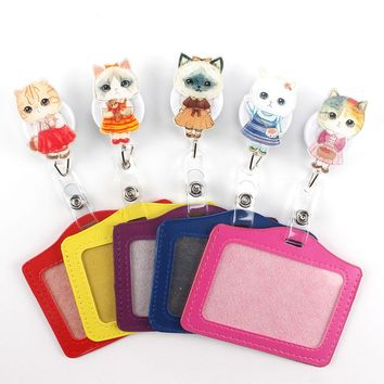 New lovely Miss Cat Cartoon Retractable Badge Reel horizontal Style Student Nurse  ID Name Card Badge Holder Office Supplies