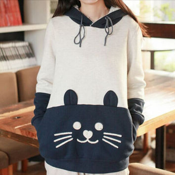 Japanese Mori Kawaii Women Hoodie Cat Face With Cute Ear Moletom Sweatshirt Cartoon Neko Atsume Hoodies Women's Clothing