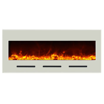 Amantii Built-in / Wall Mounted Electric Fireplace (Fire & Ice, BI‐50‐FLUSHMT‐WHTGLS)