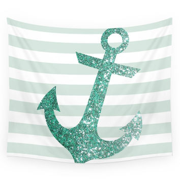 Society6 MINT GLITTER ANCHOR Wall Tapestry