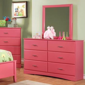 Captivating Wooden Dresser In Transitional Style, Pink