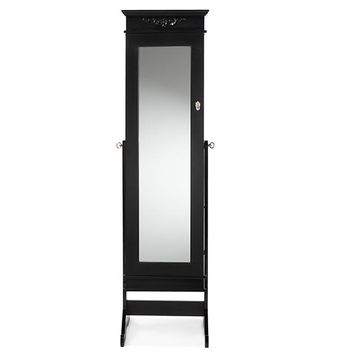 Baxton Studio Bimini Black Finish Wood Crown Molding Top Free Standing Full Length Cheval Mirror Jewelry Armoire Set of 1