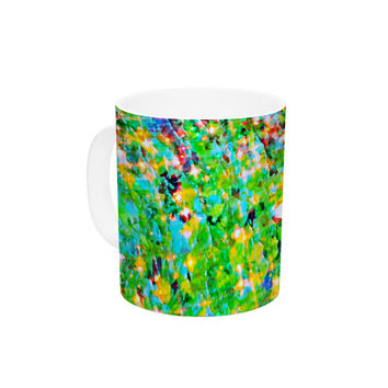 "Ebi Emporium ""Holiday Cheer"" Yellow Green Ceramic Coffee Mug"