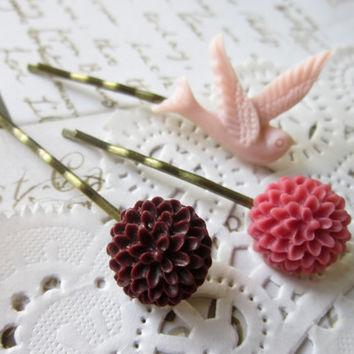 Vintage Cameo Hair Pins Warm Summer Pinks Flower by DubiousDesign