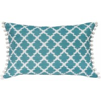 Better Homes and Gardens Tangier Aqua, Contemporary Ikat Oblong Pillow with Decorative Pompoms - Walmart.com
