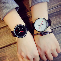 2016 New Long Point Stylish Black White Leather Quartz Wristwatches Watches for Women Ladies Men Young Durable
