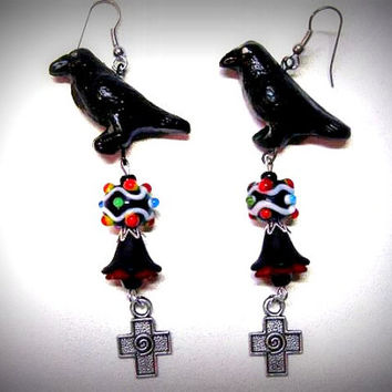 "Halloween Earrings, Crow ,Gothic ,Raven, Lampwork Beads, Acrylic Flowers, Handmade Earrings ""One Of A Kind"""