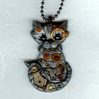 Steampunk Silver Gray Tabby Kitty Cat Necklace by Freeheart1
