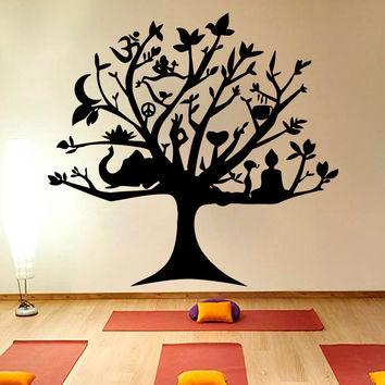 Merveilleux Wall Vinyl Room Sticker Decals Mural Design Tree Life Yoga Namas