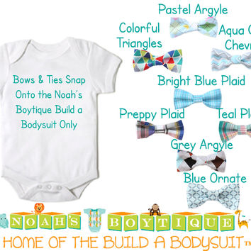 Baby Bow Ties for Noah's Boytique Build a Bodysuit - Snap On Bow Ties - Bow Ties for Babies - Bow Tie Outfit - Bowtie - Argyle - Plaid