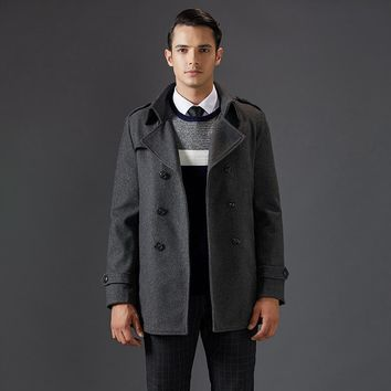 Thick Turn Down Collar Man Coats Wool Blends Long Men Wool Pea Coat
