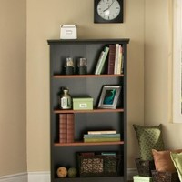 South Shore Furniture Gascony Collection 4-Shelf Bookcase, Ebony and Spice Wood