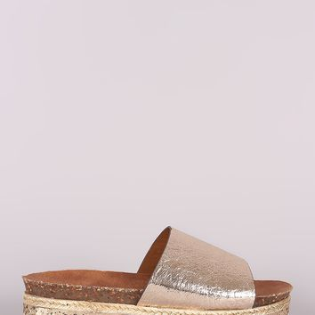 Trim Flatform Slide Sandal For Women By Bamboo | Shop Women Fashion Metallic Glitter Espadrille Trim Flatform Slide Sandal For Women