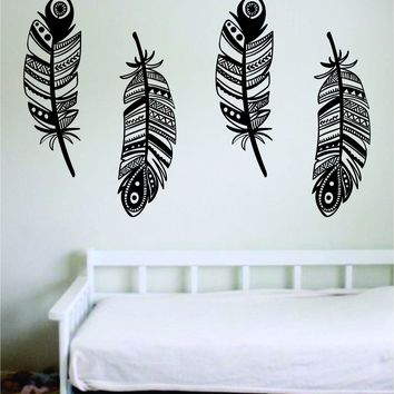 Feathers Pack of 4 Decal Sticker Wall Vinyl Art Home Decor Teen Quote Inspirational Nursery Kids Children Baby Boy Girl Adventure Animals Birds