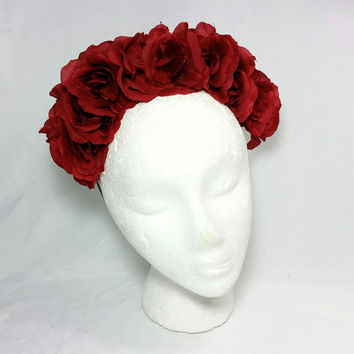 Day of the Dead Red Rose Headband/Frida Kahlo Headband/Dia de los Muertos Hair Accessory