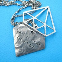 "Diamond Shaped ""This is Fake I am not"" Pendant Necklace in Silver"
