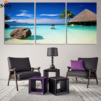 Wall Art Photography Painting On Canvas blue sky and white clouds sea Paintings Pictures Decor painting large living room