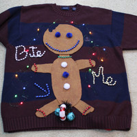Ugly Christmas  Sweater Men M Gingerbread Man Bite Me Funny Naughty Party Winner w/ little bells and 18 lights